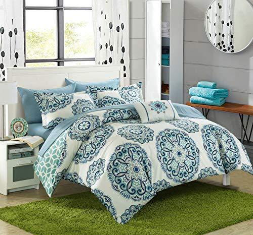 Chic Home Barcelona 6 Piece Reversible Comforter Sheet Set and Decorative Pillows Shams, Twin, Green