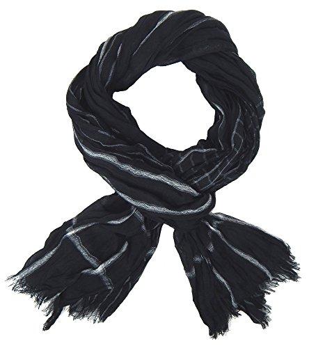Ella Jonte Écharpes foulard d'homme élégant et tendance de la dernière collection by Casual-style noir blanc