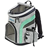 Katziela Pet Carrier Backpack - for Small Dogs and Cats - Water Bottle, Waste Bag and Storage Pouches, 3 Mesh Windows, Leash Hook - 3 Option Top: Open, Mesh or Shade - Bonus: 2 Poop Bag Rolls – Green