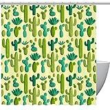 Duschvorhang, handgezeichnetes grün-gelbes Kaktus-Muster, Badezimmer-Duschvorhang mit Haken, Kinder-Badezimmerdekoration