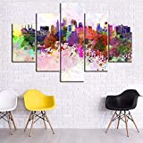 TUMOVO Large 5 Panel Canvas Wall Art Abstract Watercolor Style Painting Kansas City Scene Skyline Wall Art Print Gallery Wrapped Giclee Home Decor Framed and Stretched Ready to Hang(60Wx40H inches)