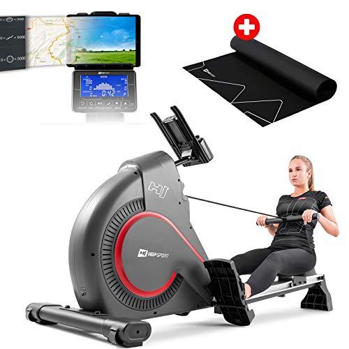 Hop-Sport Rudergerät HS-095R Ruderzugmaschine für Zuhause Magnetbremssystem Wettkampfmodus Brustgurt-kompatibel klappbar inkl. Unterlegmatte