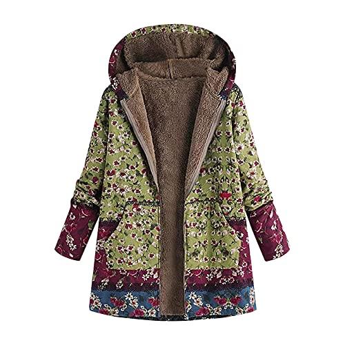 Chaqueta con capucha para mujer, diseo tnico, estampado floral, forro polar, solapa clida, chaqueta con cremallera y bolsillos (verde, XL)