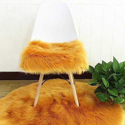 Faux Lammfell Sitzkissen, Schaffell Sitzauflage Longhair Fell Optik Nachahmung Wolle Sofa Matte (Kamel,40 * 40cm)