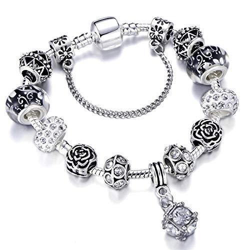 Zilveren vergulde 925 kralen kristal hart bedelarmband past merk armband voor vrouwen sieraden