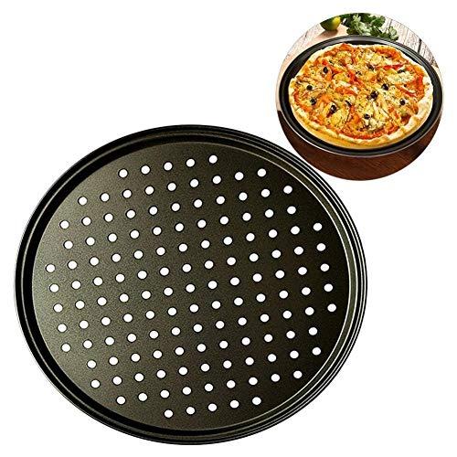 WSJF 2pcs de Acero al Carbono Antiadherente Hornada de la Pizza Pan Pizza Bandeja 32cm Platos Placa de Soporte for Hornear Inicio hornada de la Cocina Herramientas Accesorios (Color : Black)