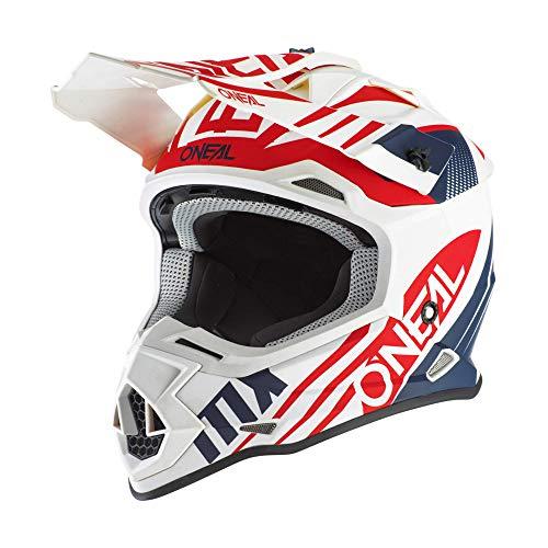 O'NEAL | Casco de Motocross | MX Enduro | Estándar de Seguridad ECE 22.05, ventilaciones para una óptima ventilación y refrigeración | Casco 2SRS Spyde 2.0 | Adultos | Azul Blanco Rojo | Talla M