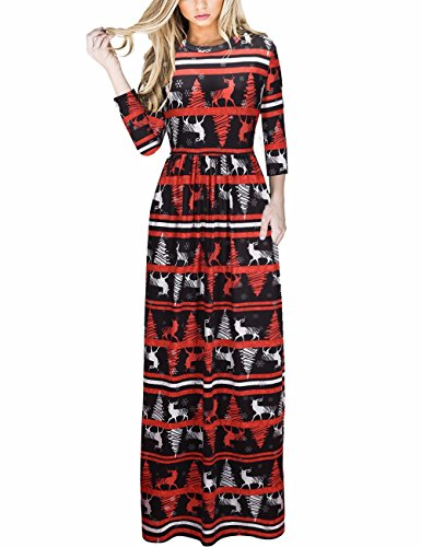 Ruiyige Plus Size Holiday Dresses Christmas Maxi Dress for Women Black XL