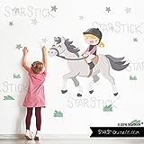 StarStick - Vinilo infantil - Niña jinete - Caballo gris - T1 - Pequeño