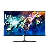 Prechen Monitor Gaming 23,8',Display Full HD Risoluzione 1920x1080, 144 Hz IPS 144 Hz 3 ms luminosità intelligente, luce blu bassa, cornice ultrasottile, Porta VGA/HDMI,Monitor per videogiochi,nero