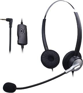 Wantek Dual Call Center Teléfono Auricular con 2.5mm Auricular Jack + Micrófono + Volume Mute Controls para Cisco Linksys SPA SPA921 SPA922 SPA941 303 501G 502G 504G 508G 509G IP Teléfonos(H120S01J25)