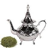 albena shop 73-126 Jenda orientalische Teekanne Messing verchromt 800 ml