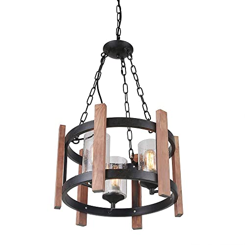 Giluta Wooden Ring Hemp Rope Chandelier with Seeded Glass