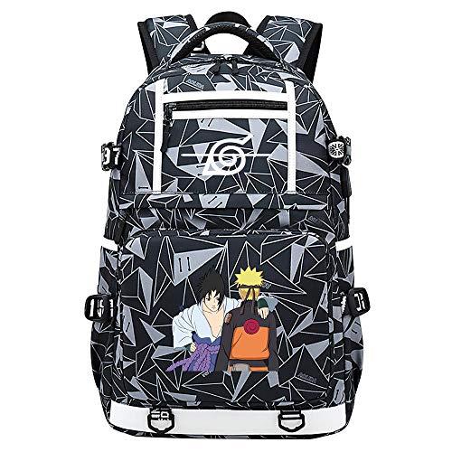 ZZGOO-LL White Sharingan Pattern Uzumaki Naruto Uchiha Sasuke/Itachi Anime Cosplay Bookbag College Bag Mochila Mochila Escolar con Puerto de Carga USB Starry Sky-D