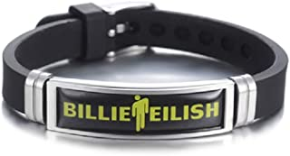 TAGOMEI Billie Eilish bracelet,Silicone Bracelet Wristband Stainless Steel Adjustable Size Wristband Bracelet for Popular Rap Singer Fans(Black)