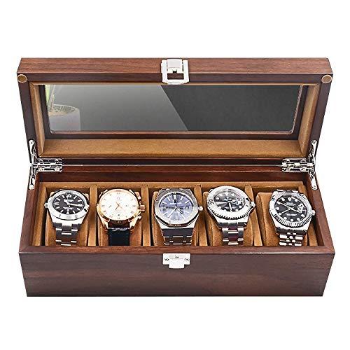 Vitrina de Reloj de 5 Ranuras con Cerradura Caja de Reloj con Tapa de Vidrio Forro de Terciopelo de Madera Porta Relojes 11'L x 4.5' W x 3.7'H