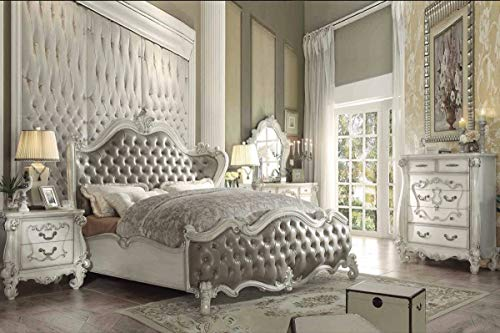 Check Out This Esofastore Traditional Bedroom White Finish Vintage Gray Tufted PU 4pc Queen Size Bed...