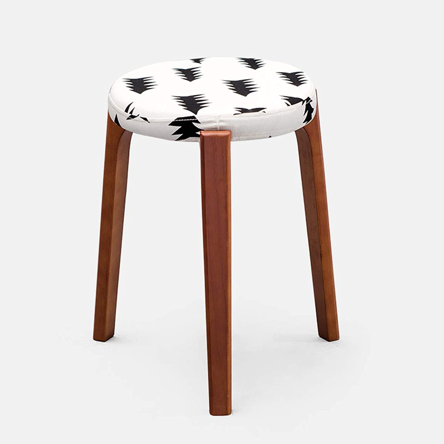HLQW Creative Small Stool, Solid Wooden Dining Stool, Square Stool, Dressing Stool, Simple Fashionable Dressing Stool, Bench, Household Stool, Brown Leg 7