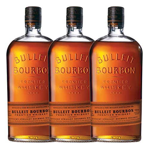 Bulleit Bourbon Frontier Whisky 749201 - Juego de 3 botes de whisky Kentucky Straight Bourbon (alcohol, 45%, 700 ml)