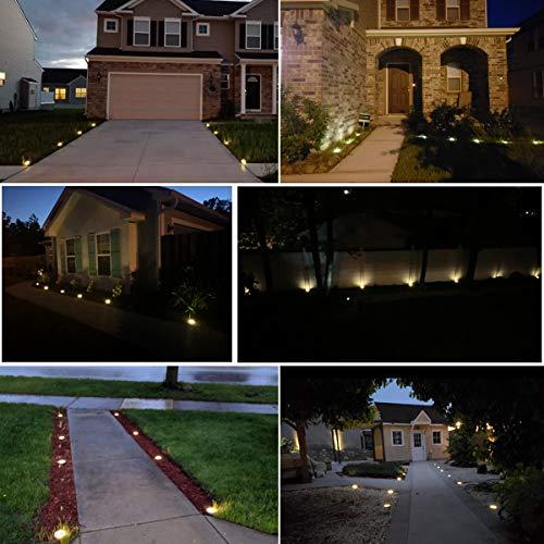 12 Pack Solar Ground Lights - 8 Led Solar Garden Lights Outdoor Waterproof Sidewalk Disk Lights Solar Powered Landscape Lighting for Lawn Patio Pathway Yard Deck Walkway Flood Lights (Warm White)