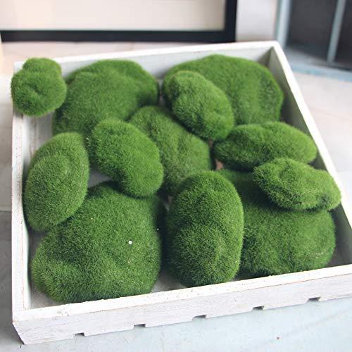 TONGADA El Musgo Artificial Bola Jardín Decoración Falsos Plantas Decoración Falso Fondo Verde DIY simulación Verde de Piedra Pared Botánica (Color : Verde, Size : 9x6cm 12pcs)