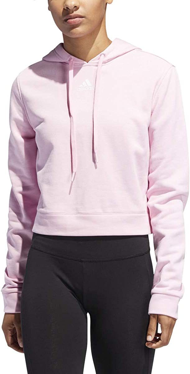 adidas Women's 3 Stripped Japan Maker New Cropped True Popular popular Pink White Hoodie