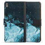 DeinDesign Etui Compatible avec Sony Xperia E5 Etui Folio Etui magnetique Marbre Liquide Aquarelle