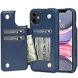 iPhone 11 ケース 手帳型 ワイヤレス充電対応 米軍軍事規格 スマホケース iPhone11 カバー Arae カード収納 ポケット付き アイフォン 11 6.1インチ 対応用 財布型 ケース (ネイビー)