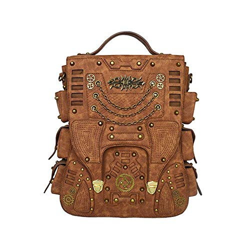 ZHHk Steampunk Retro PU Leather Handbag Large Capacity Outdoor Travel Computer Backpack Male Dark Brown Backpack Metal Chain Gear Rivet Decoration