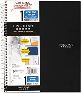 $27 » Five Star Wirebound Notebook, College Ruled, 1 Subject, 100 Sheets, 1 Notebook, Assorted Colors (Pack of 4)