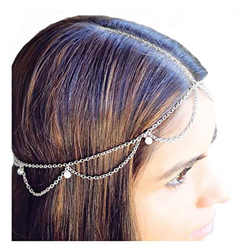 Drecode Boho Fashion Layered Head Chains Dainty Pearl Tassel Headband Jewelry for Women and Girls (Silver)