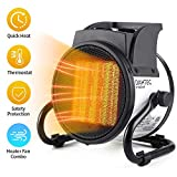 DAHTEC Space Electric Heat Fan Forced Ceramic Small Heaters with Adjustable Thermostat Portable 20/750/1500W Mini Air Heater