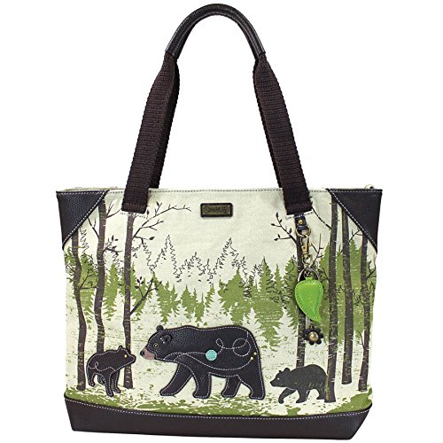 """Chala Safari - """"Momma Bear in the Forest"""" Tote Bag , Canvas Tote with Detachable Charm / Keychain (912 BR)"""