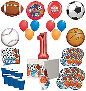 Mayflower Products Sports Theme 1st Birthday Party Supplies 8 Guest Entertainment kit and Balloon Bouquet Decorations - Red Number 1