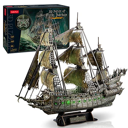 CubicFun LED Pirates of the Caribbean Flying Dutchman Model Kits for Adults to Build 3D Jigsaw Puzzles Ship Model Bulding Gifts for Adults Kids Girls Boys - 360 Pieces