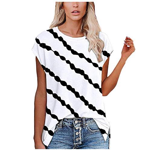 YANFANG Camisetas Baratas Mujer Manga Corta,Camisetas con Cuello En O De Corta Estampado Tops Abertura Lateral,Jersey Originales,2-Blanco,XL