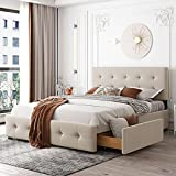 Queen Bed Frame with Storage , Upholstered Bed Frame Queen with 4 Storage...