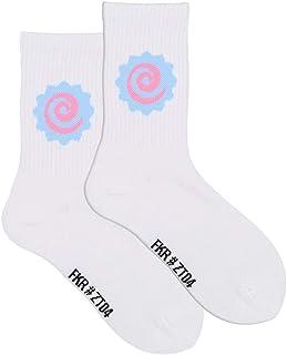 WZDSNDQDY Calcetines de Tubo para Hombre, Calcetines Deportivos de Hip Hop con Personalidad Blanca, Dibujos Animados de Material de algodón