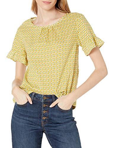 Amazon Brand - Goodthreads Women's Lightweight Cotton Dobby Flutter-Sleeve Crewneck Woven Tee, Pineapple Print, Medium