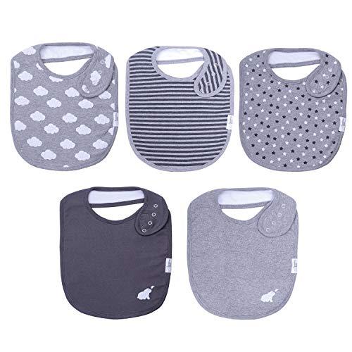 Budding Bear Premium Baby Voedings Slabjes (5 pak) – 100% Biologisch Katoen Voorkant en Absorberende Handdoek Achterkant – Baby Slabjes Voor Meisjes en Jongens met 4 Aanpasbare Nikkel Klik Sluitingen
