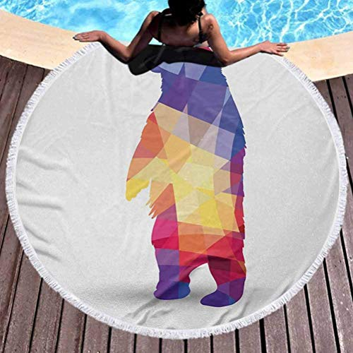 Runde Strandtuch Tier Kleinkind Strandtuch Silhouette des Wilden Bären mit geometrischen Fraktalformen Bunte Origami inspiriert