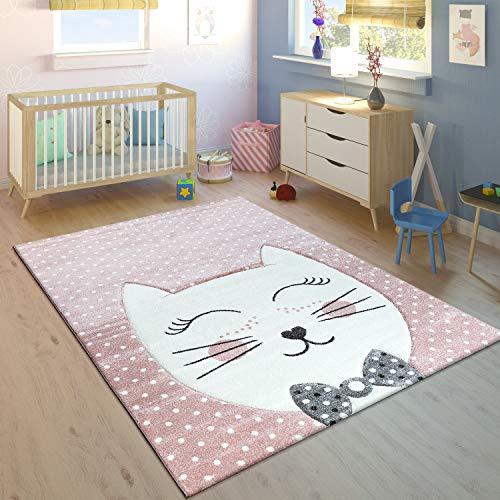 Kinderteppich Kinderzimmer Konturenschnitt Gepunktet Grinsekatze Pastell Rosa, Grösse:80x150 cm