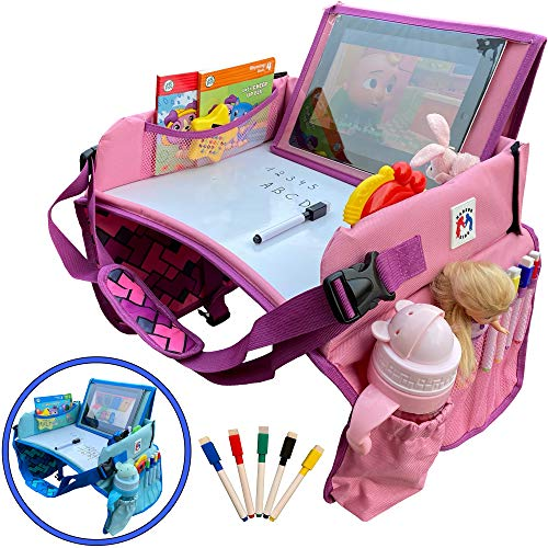 Madson Kids Travel Tray - Toddler Car Seat - Lap Desk & Dry Erase Board - Activity Organizer with Markers - Food & Snack Table - Tablet iPad & Cup Holder, Road Trip Essential, Portable Desk for Kids (Pink)