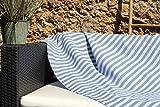 Les Demoiselles de Tunis Très Grande fouta XXL de Plage Douceur Bali 150 x 250 cm – Bleu Clair, Bleu Jean et Bandes Blanches – Drap de Plage XXL – 100% Coton Doux