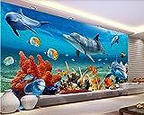 Papel Pintado Fotográfico Papel Tapiz 3D Personalizado 3D Papel Tapiz De Peces Delfines Bajo El Agua Pared De Acuario Fondo De La Habitación Papel De Pared Para Niños-200_X_140Cm Salón Dormitorio D