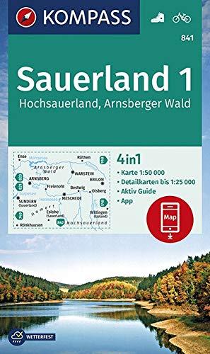 KOMPASS Wanderkarte Sauerland 1, Hochsauerland, Arnsberger Wald: 4in1 Wanderkarte 1:50000 mit Aktiv Guide und Detailkarten inklusive Karte zur offline ... (KOMPASS-Wanderkarten, Band 841)