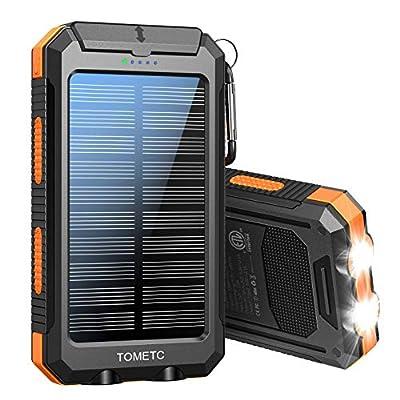 Solar Power Bank 33800mAh Portable Solar Charger 5V3.1A,18W PD QC 3.0 Dual 2 USB,LED Flashlights Port Strong LED IPX7 Flashlight,Waterproof, Dustproof, Shockproof (Orange)