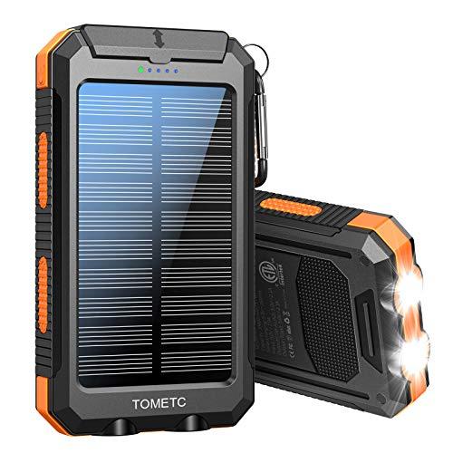 Solar Power Bank 33800mAh Portable Solar Charger 5V3.1A,18W PD QC 3.0 Dual 2 USB,LED Flashlights Port Strong LED IPX7 Flashlight,Waterproof,Dustproof,Shockproof.(Orange)