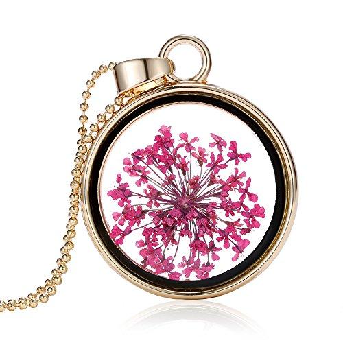 Feilok Collana da donna alla moda con pendente con fiore secco sotto vetro, base metal, colore: Flower-C, cod. DZSY0148