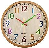 Avril Tian Reloj de Pared Silencioso de 30,5 cm, Funciona con Pilas, para Dormitorio Infantil, Sala de Estar, Cocina, Oficina, Aula Escolar